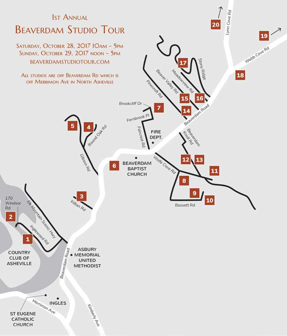 Beaverdam Studio Tour Map