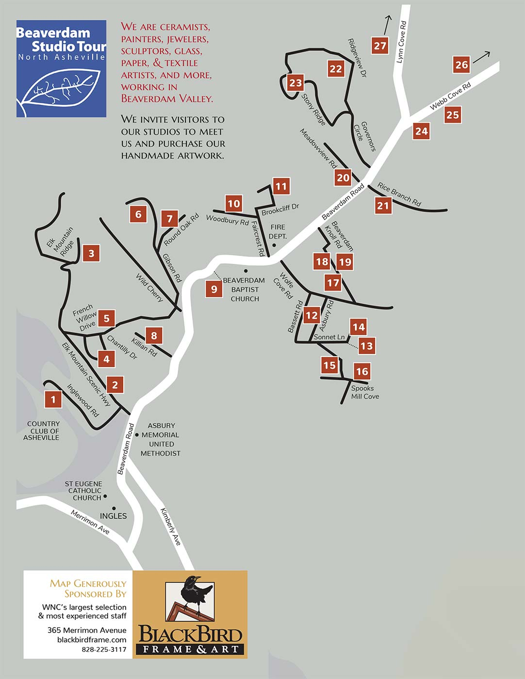 Beaverdam Studio Tour Map